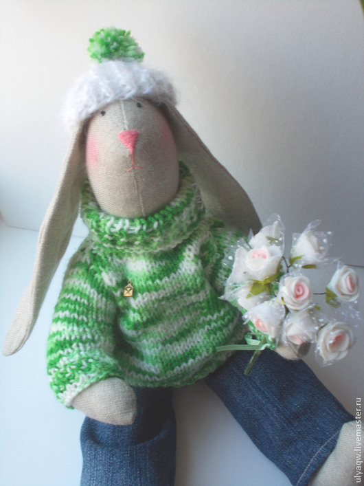 Куклы Тильды ручной работы. Ярмарка Мастеров - ручная работа. Купить Заяц Тильда в свитере - игрушка интерьерная и для игры. Handmade.