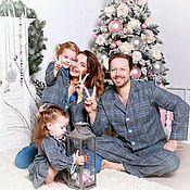 Одежда handmade. Livemaster - original item Family bow pyjamaparty for the whole family