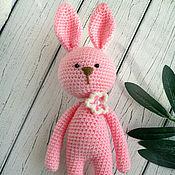 Куклы и игрушки handmade. Livemaster - original item Rabbit knitted crochet pink. Handmade.