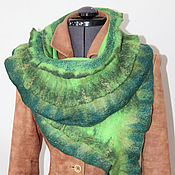 Аксессуары ручной работы. Ярмарка Мастеров - ручная работа Валяный шарф Зеленая рыба. Handmade.