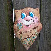 handmade. Livemaster - original item Because I love... Coffee cat with a big loving heart Painting. Handmade.