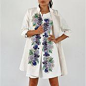 Одежда ручной работы. Ярмарка Мастеров - ручная работа Платье-пальто с голубыми цветами. Handmade.