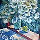 """Картины цветов ручной работы. Ярмарка Мастеров - ручная работа. Купить картина """"Летний день"""". Handmade. Цветы, зеленый, мятный"""