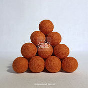 """Бусины ручной работы. Ярмарка Мастеров - ручная работа Шарики из шерсти 15 мм, цвет 22 """"Оранжевый"""". Handmade."""