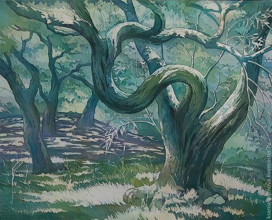 Пейзаж ручной работы. Ярмарка Мастеров - ручная работа. Купить Старая олива - картина-батик на натуральном шелке.. Handmade.