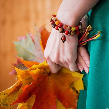 """Украшения ручной работы. Ярмарка Мастеров - ручная работа Комплект браслетов """"Сентябрь""""(красный,рыжий,желтый). Handmade."""