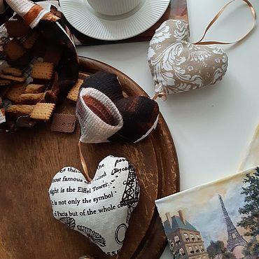 Сувениры и подарки ручной работы. Ярмарка Мастеров - ручная работа Сердечки-саше и экомешочек: Французский кофе. Handmade.