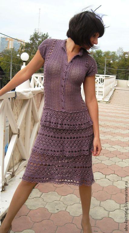Моя Жаклин.  Платье крючком из 100% шелка. ABVintage Knitting.