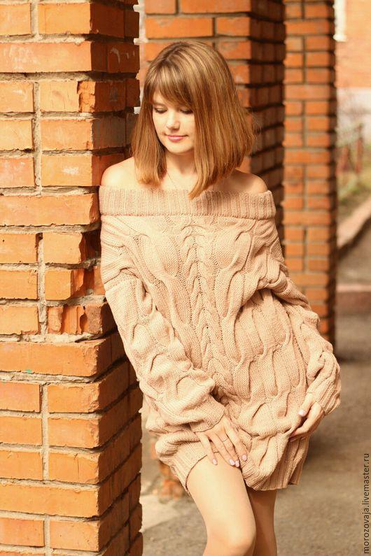 Кофты и свитера ручной работы. Ярмарка Мастеров - ручная работа. Купить Удлиненный свитер с косами. Handmade. Бежевый, заказать свитер