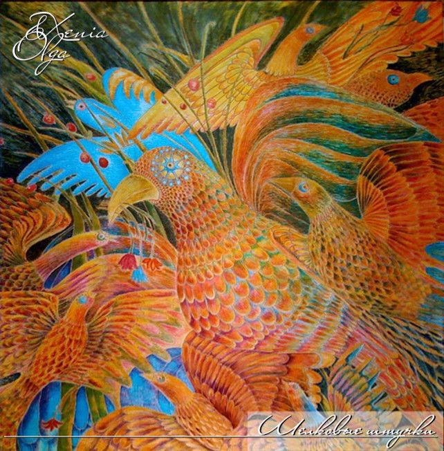 """Животные ручной работы. Ярмарка Мастеров - ручная работа. Купить Картина на шёлке """"Птицы"""" ручная роспись. Handmade. Птицы, рыжий"""