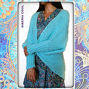 Одежда handmade. Livemaster - original item Cardigan womens Turquoise, Teal, cocoon, wool and fiber. Handmade.