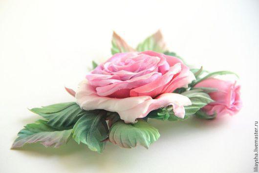 """Броши ручной работы. Ярмарка Мастеров - ручная работа. Купить Брошь """"Розовая нежность"""" из шелка. Handmade. Разноцветный, свадебное украшение"""