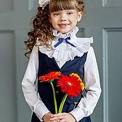 Одежда ручной работы. Ярмарка Мастеров - ручная работа Блузка школьная для девочки. Нарядная с жабо (Арт. 82). Handmade.
