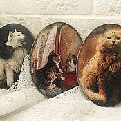 Подарки к праздникам ручной работы. Ярмарка Мастеров - ручная работа Открытки деревянные, с кошками. Handmade.