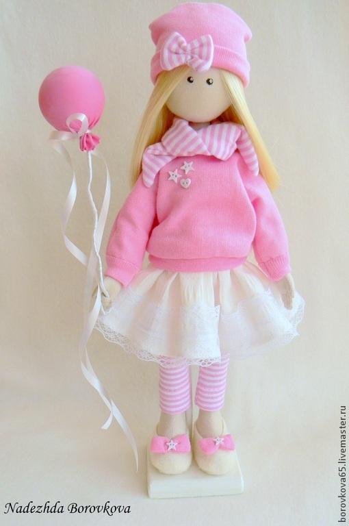 Коллекционные куклы ручной работы. Ярмарка Мастеров - ручная работа. Купить Интерьерная кукла Синди.. Handmade. Розовый, кукла, синтепон