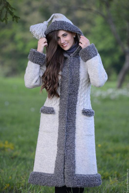 Верхняя одежда ручной работы. Ярмарка Мастеров - ручная работа. Купить Пальто вязаное 16wj13. Handmade. Серый, пальто шерстяное