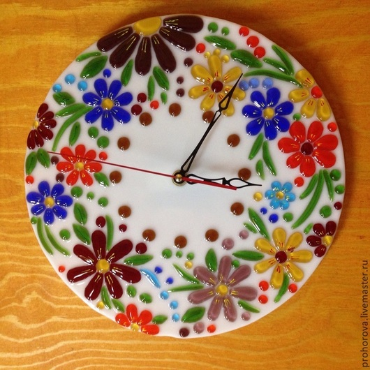 """Часы для дома ручной работы. Ярмарка Мастеров - ручная работа. Купить Часы """"цветная поляна"""". Handmade. Разноцветный, подарок, Фьюзинг"""
