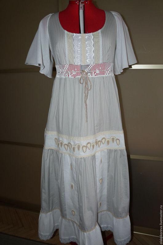 Платья ручной работы. Ярмарка Мастеров - ручная работа. Купить Платье р.48-50 серое в полоску. Handmade. Серый