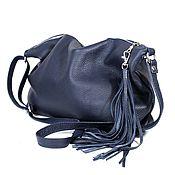 Сумки и аксессуары handmade. Livemaster - original item Crossbody Bag Leather Blue Crossbody Bag with Tassel. Handmade.