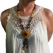 Работы для детей, handmade. Livemaster - original item beads: Amber beads long with flower decoration for woman. Handmade.