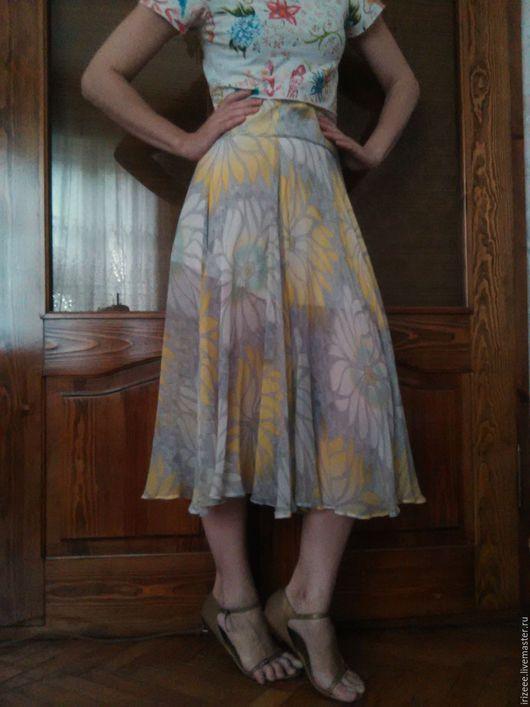 Юбки ручной работы. Ярмарка Мастеров - ручная работа. Купить юбка шелк Ромашки. Handmade. Лимонный, юбка клеш шелковая