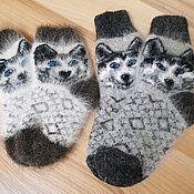 Аксессуары handmade. Livemaster - original item Baby down socks HUSKY Size 12cm. Handmade.