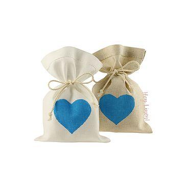 Свадебный салон ручной работы. Ярмарка Мастеров - ручная работа 10х15см. 10шт. Мешочки льняные с голубым сердцем. Handmade.