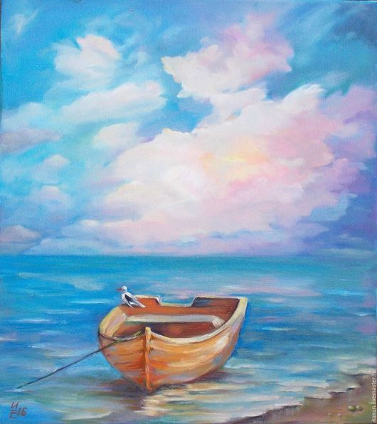 Пейзаж ручной работы. Ярмарка Мастеров - ручная работа. Купить Розовое облако и лодка Картина маслом 35х45. Handmade. Голубой