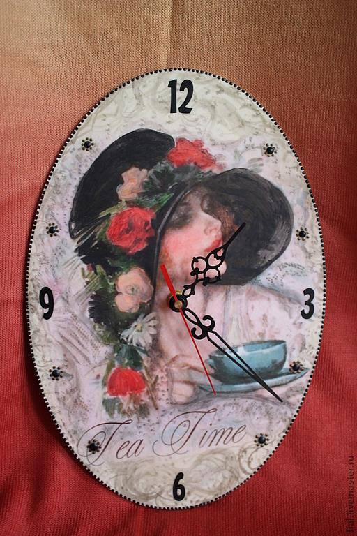 """Часы для дома ручной работы. Ярмарка Мастеров - ручная работа. Купить Часы """"Tea time"""". Handmade. Часы настенные, распечатка"""