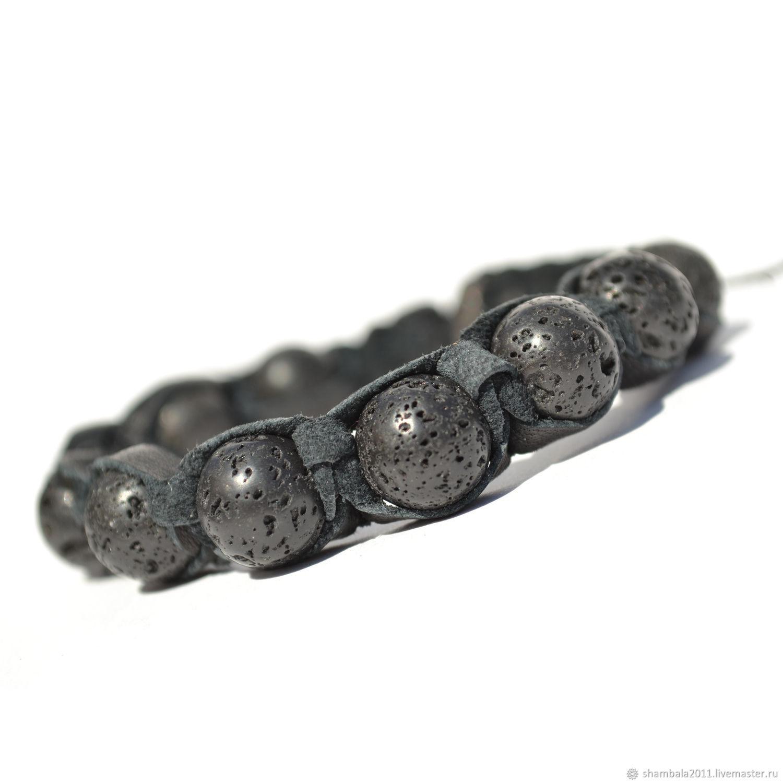 Shamballa bracelet with stone volcanic lava, Bead bracelet, Moscow,  Фото №1