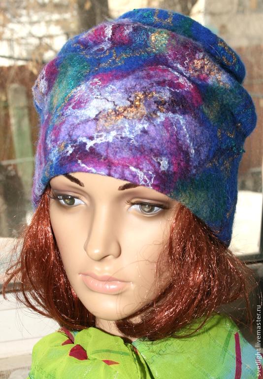 Шапочка синяя с фиолетовыми цветами, Шапки, Омск,  Фото №1
