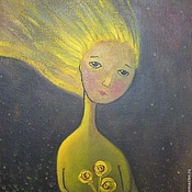 Картины и панно ручной работы. Ярмарка Мастеров - ручная работа Картина Девушка  и цветы  полет ангел букет. Handmade.