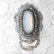 Украшения handmade. Livemaster - original item brooch beaded with aplicom moonlight. Handmade.