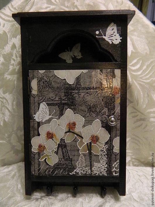 """Прихожая ручной работы. Ярмарка Мастеров - ручная работа. Купить Ключница """" Черная Орхидея"""". Handmade. Ключница, ключницы, для ключей"""