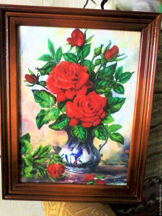 Картины цветов ручной работы. Ярмарка Мастеров - ручная работа. Купить Королевские розы. Handmade. Бордовый, бисер