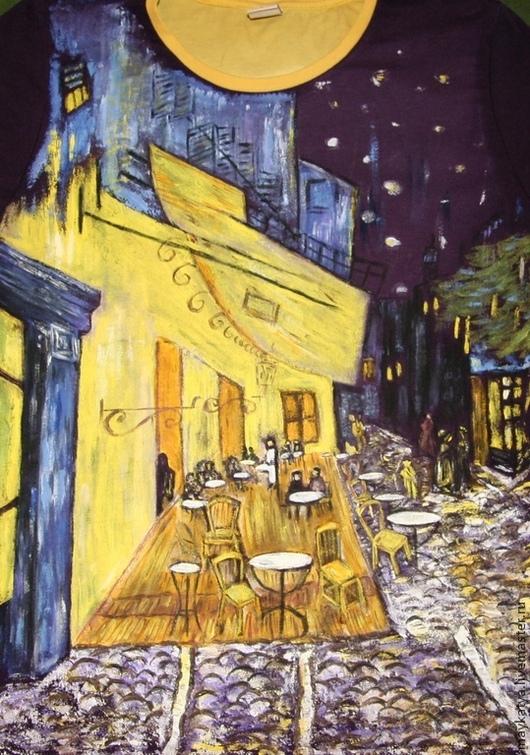 """Футболки, майки ручной работы. Ярмарка Мастеров - ручная работа. Купить Футболка: """"Ночная терраса кафе"""" Ван Гог. Handmade."""
