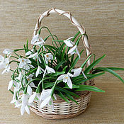 Цветы и флористика handmade. Livemaster - original item Basket with snowdrops made of polymer clay. Handmade.