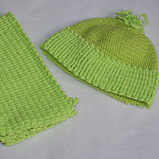 Работы для детей, ручной работы. Ярмарка Мастеров - ручная работа Салатовый комплект шапочка + шарфик. Handmade.