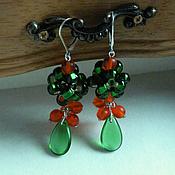 Украшения handmade. Livemaster - original item Earrings Sentimentally drops green red beads and orange beads bunch. Handmade.