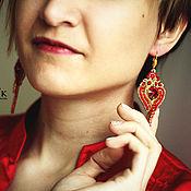 Украшения handmade. Livemaster - original item Soutache earrings Fire bird Swarovski red gold. Handmade.