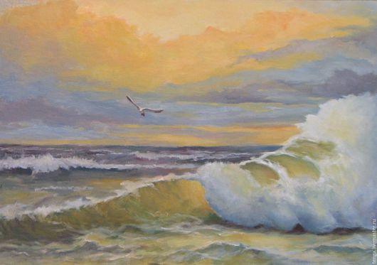 Пейзаж ручной работы. Ярмарка Мастеров - ручная работа. Купить Одинокая чайка. Handmade. Море живопись, закат на море
