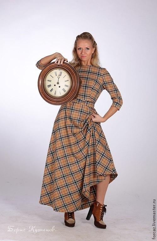 Платья ручной работы. Ярмарка Мастеров - ручная работа. Купить Платье из ткани в клетку. Handmade. Барберри, теплое платье