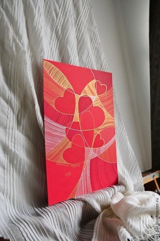 """Подарки для влюбленных ручной работы. Ярмарка Мастеров - ручная работа. Купить рисунок """"Сплетение сердец"""". Handmade. Сердца, сплетение сердец"""