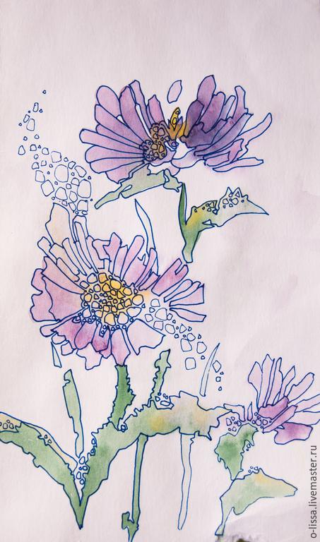 Картины цветов ручной работы. Ярмарка Мастеров - ручная работа. Купить хризантемка. Handmade. Бледно-сиреневый, хризантема, в подарок, утро