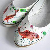 Обувь ручной работы. Ярмарка Мастеров - ручная работа Балетки из кожи с росписью Лотос. Handmade.