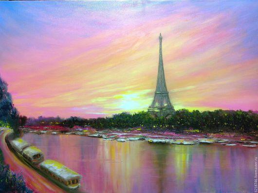 Город ручной работы. Ярмарка Мастеров - ручная работа. Купить Париж на закате. Handmade. Розовый, Эйфелева башня, подарок другу
