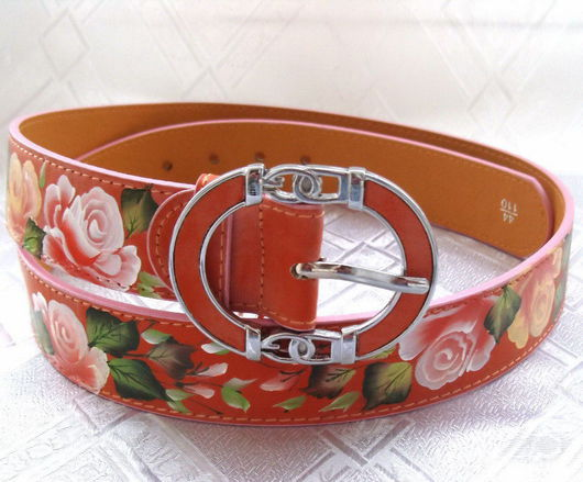 Belts handmade. Livemaster - handmade. Buy Women's leather belt with painted 'waiting for the fall'.