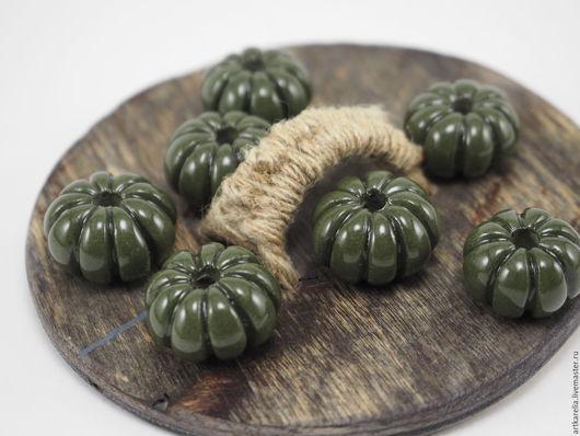 Для украшений ручной работы. Ярмарка Мастеров - ручная работа. Купить Бусинки-тыковки из зелёной глины,18-21 мм, бусины для украшений. Handmade.