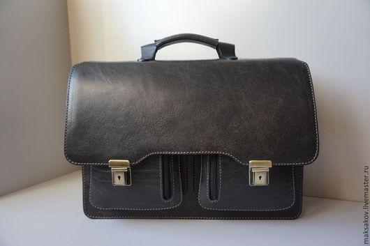 Мужские сумки ручной работы. Ярмарка Мастеров - ручная работа. Купить Нарва II. Handmade. Темно-серый, натуральная замша