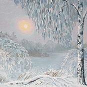 """Картины и панно ручной работы. Ярмарка Мастеров - ручная работа Картина маслом """"Морозный вечер"""". Handmade."""